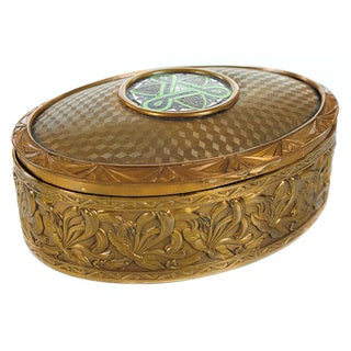 "19th C. Bronze & Enamel 5"" Oval Jewelry Box For Sale"