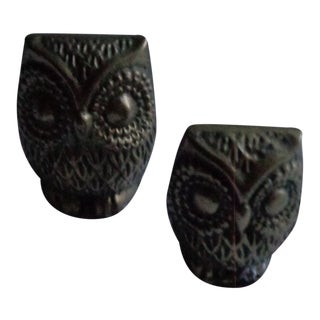 Vintage Mid-Century Brass Owl Figurines - a Pair For Sale