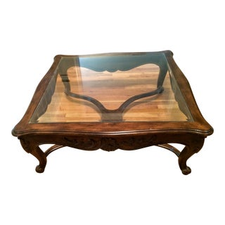 Vintage Carved Wood With Glass Top Coffee Table