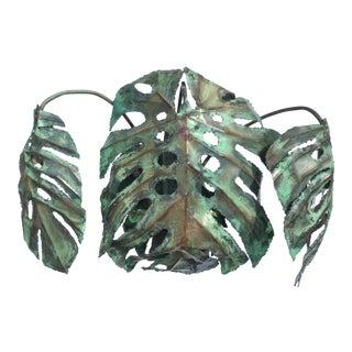 "Garland Faulkner Enameled Copper Monstera ""Swiss Cheese Plant"" Wall Sconce For Sale"