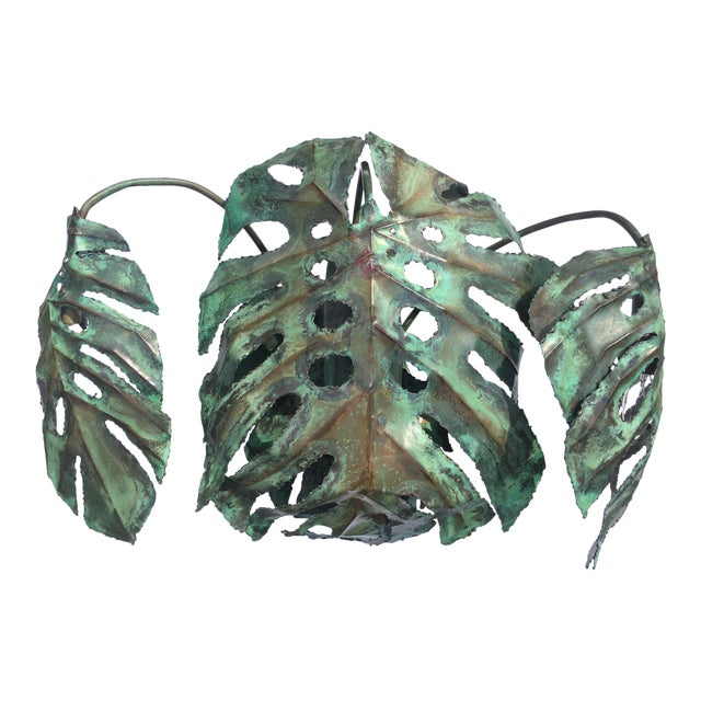 """Garland Faulkner Enameled Copper Monstera """"Swiss Cheese Plant"""" Wall Sconce For Sale"""