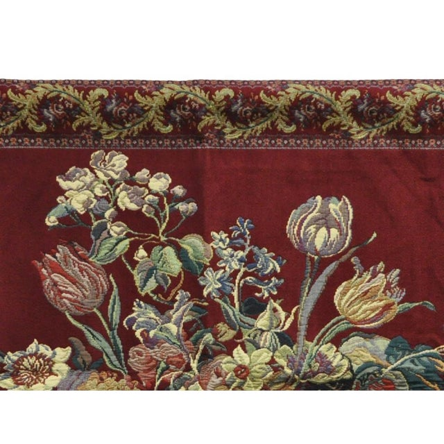 """51"""" X 36"""" French Wall Hanging Tapestry Jacquard Acanthus Floral Still Life Red For Sale - Image 4 of 8"""