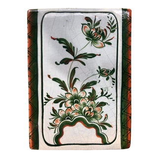 Hand-Painted Italian Ceramic Faience Pottery Floral Rectangular Box Vase For Sale