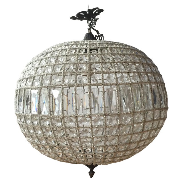 Modern French Pendant Crystal Sphere For Sale