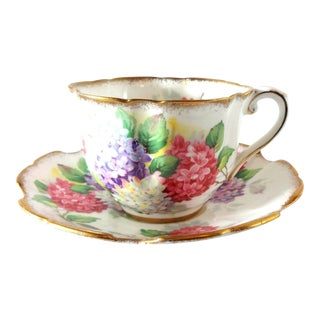 "Mid 20th Century Vintage Royal Stafford ""Carousel"" Bone China Lilacs Tea Cup and Saucer For Sale"