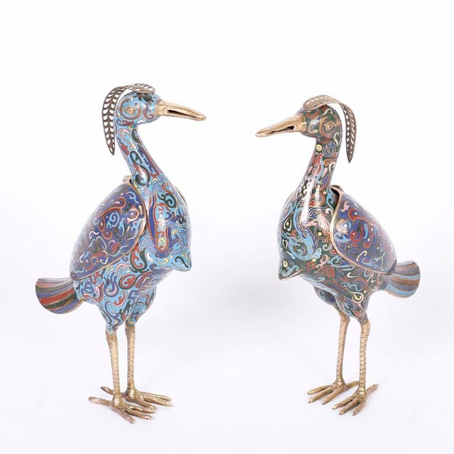 1960s Chinese Cloisonné Bird Sculptures - a Pair For Sale - Image 9 of 9