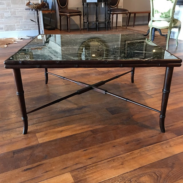 Mid-Century Regency Faux Bamboo Marbled Table - Image 5 of 8