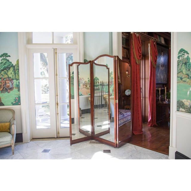 English Fine English 19th C. Three-Panel Mahogany and Mirror Folding Screen For Sale - Image 3 of 6