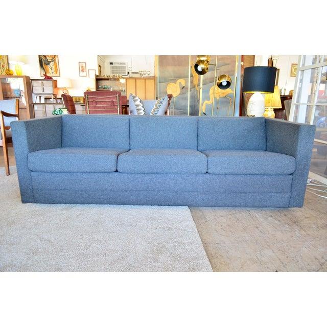 Mid Century Modern Slate Gray Tweed Box Sofa For Sale In San Antonio - Image 6 of 6