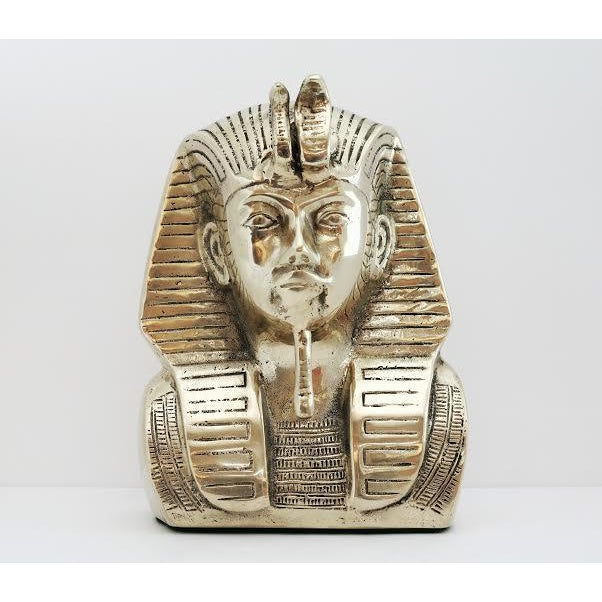 Vintage Brass King Tut Pharaoh Statue For Sale - Image 10 of 10