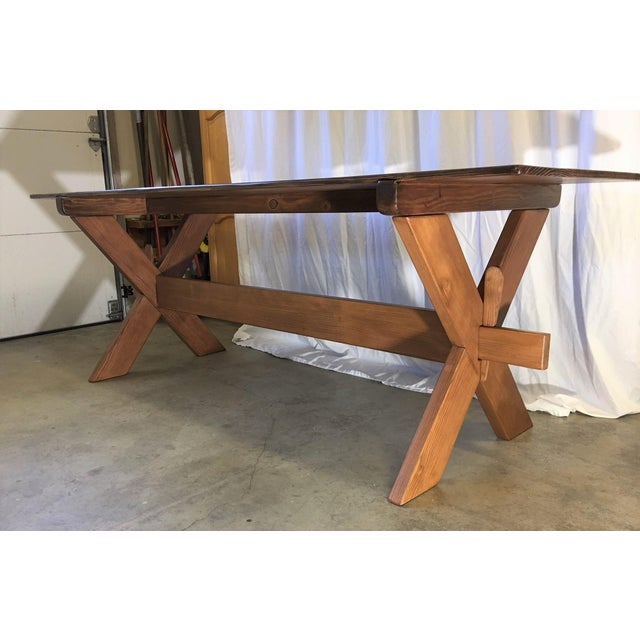 Country Handcrafted Cross Leg Trestle Douglas Fir Dining Table For Sale - Image 4 of 9