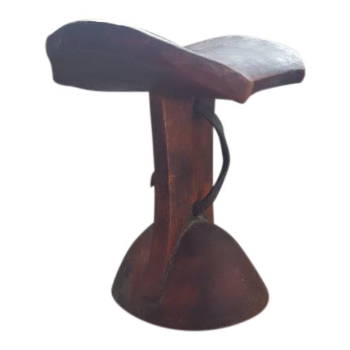 African Headrest With Leather Strap For Sale