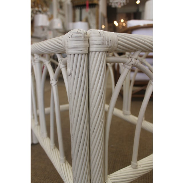 White Vintage Cane End Tables - A Pair - Image 6 of 6