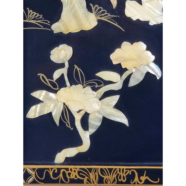 Bone Vintage Japanese Black Lacquered Mother of Pearl, Bone Wall Panel For Sale - Image 7 of 10