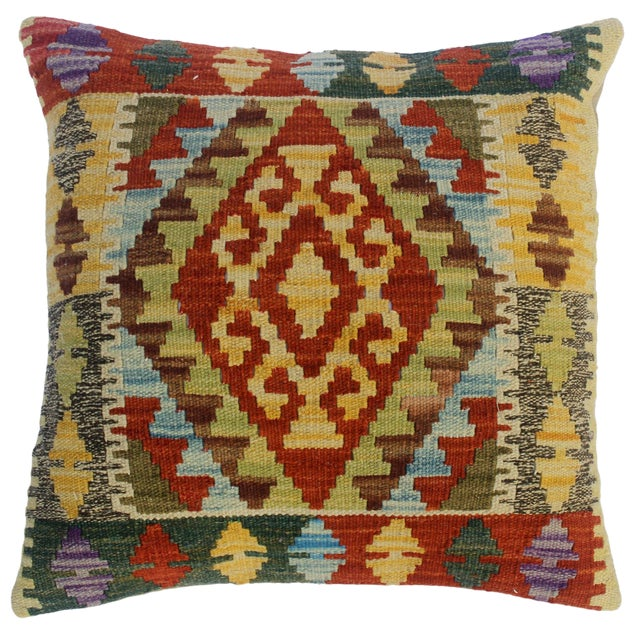 "Chu Gold/Rust Hand-Woven Kilim Throw Pillow(18""x18"") For Sale"