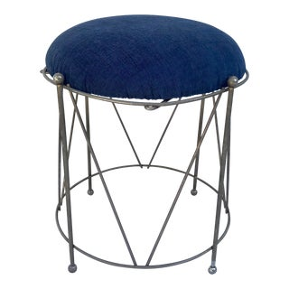 Vintage Metal Drum Shaped Stool Ottoman For Sale