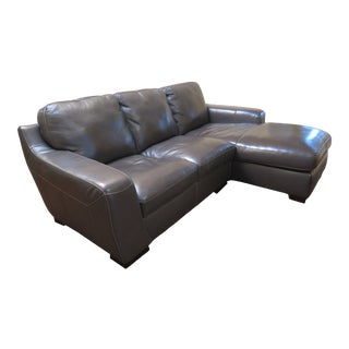 Vintage Gray Stitched Leather Sofa For Sale