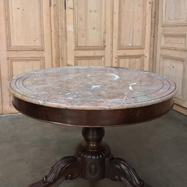 Early 19th Century 19th Century French Louis Philippe Marble Top Center Table For Sale - Image 5 of 11