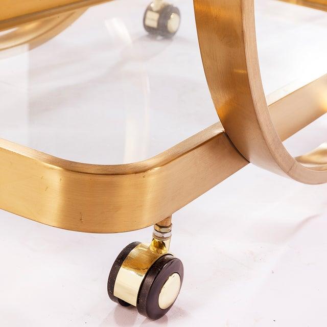Golden Steel Glass Shelves & Rolling Caster Bar Cart - Image 3 of 4