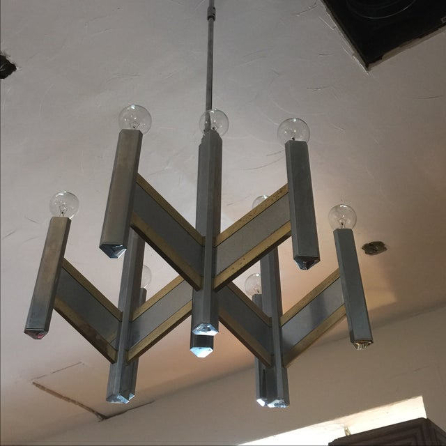 Chrome & Brass 9-Light Chandelier by Sciolari For Sale - Image 7 of 8
