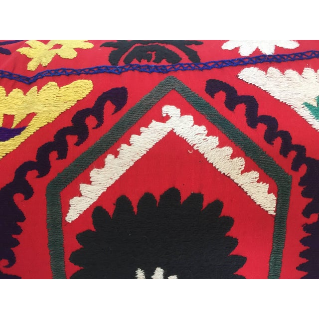 Asian Vintage Large Colorful Suzani Embroidery Decorative Throw Pillow From Uzbekistan For Sale - Image 3 of 13