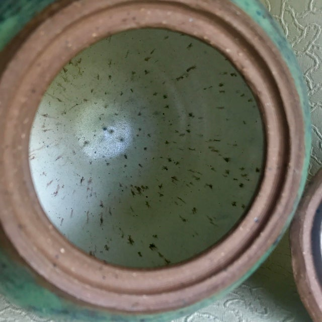 1960s Arts and Crafts Curly Handle and Mottled Glaze Iridescent Clay Pot For Sale - Image 9 of 13
