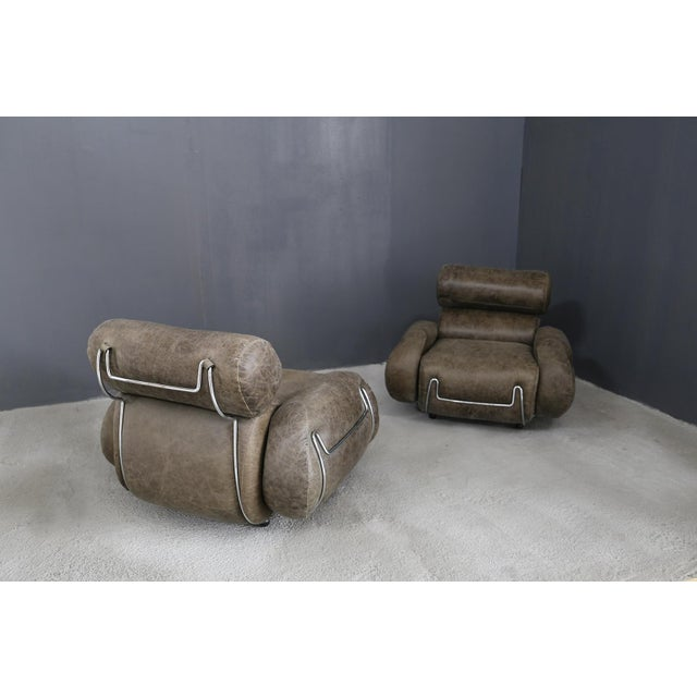 1970s Vintage Armchairs in 70's Leather and Steel. For Sale - Image 5 of 7