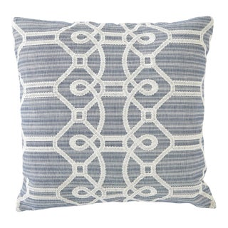 Schumacher Ziz Embroidery Blue Square Pillow 26x26 For Sale