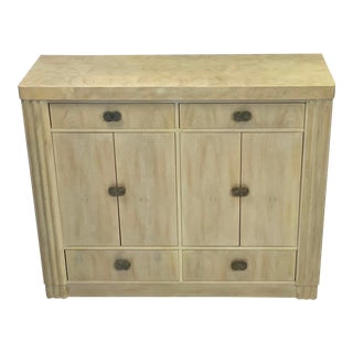Art Deco Hickory White Pickled Oak Cabinet For Sale