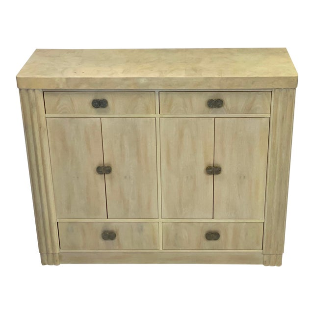 Art Deco Hickory White Pickled Oak Cabinet For Sale