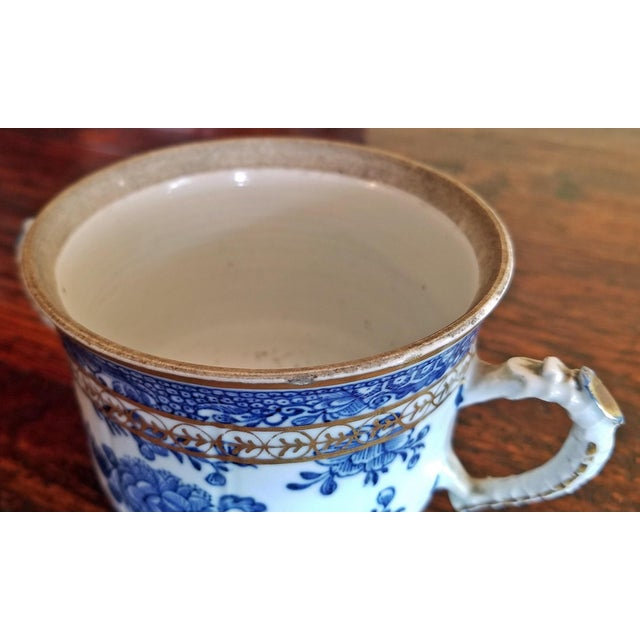 Ceramic 18th Century Continental 2 Handled Blue and White Mug With Gilding For Sale - Image 7 of 11