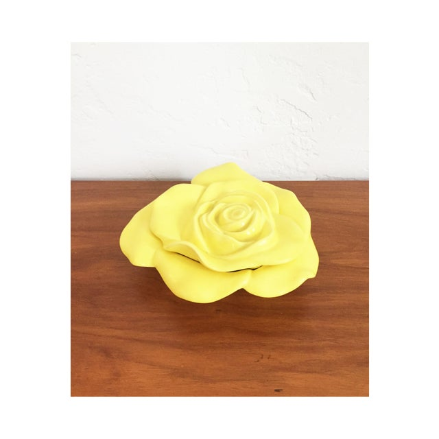 Vintage Ceramic Yellow Rose Dish For Sale - Image 5 of 5
