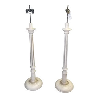 Transitional Paul Ferrante Antique White Floor Lamps - a Pair