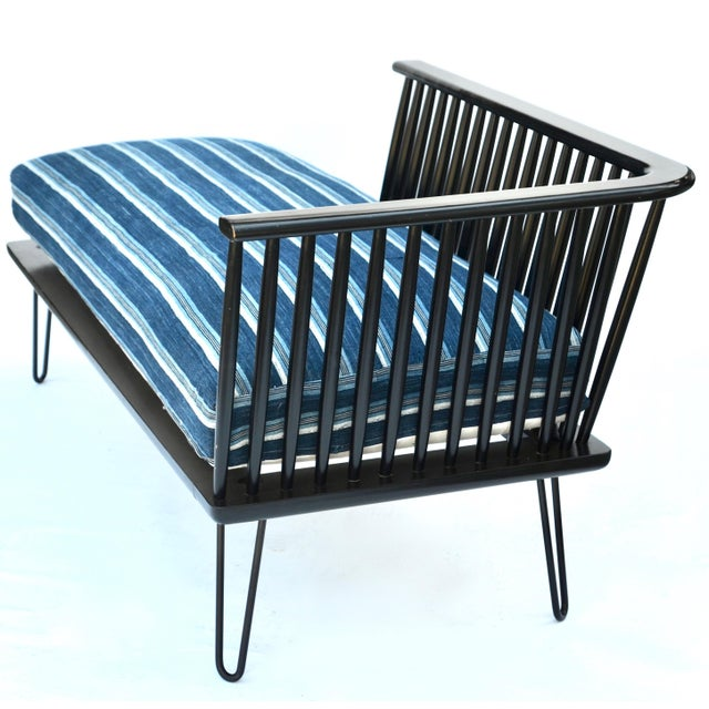 1960s Mid-Century Modern Daybed Settee With African Upholstery For Sale - Image 5 of 9