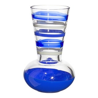 Carlo Moretti Troncosfera Vase in Lapis, Ivory and Blue For Sale
