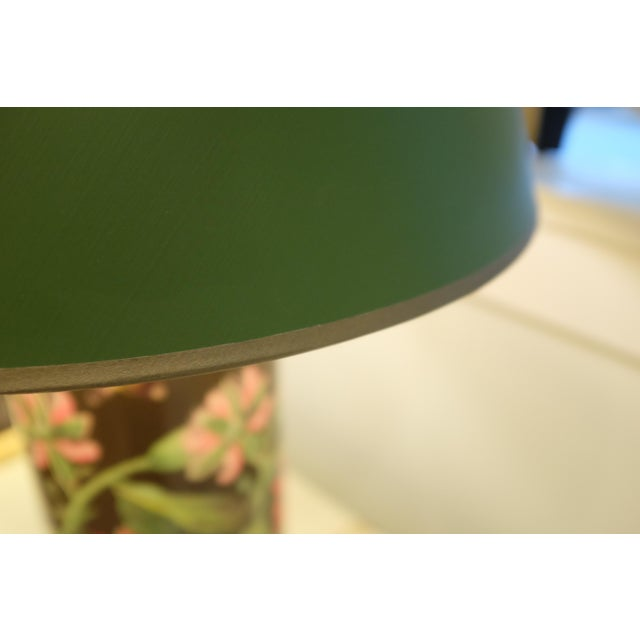 Green Decoupage Flower Lamp With Green Painted Shade For Sale - Image 8 of 12