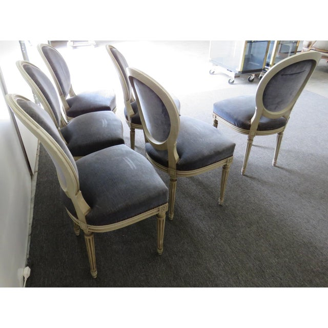 Blue Vintage Mid Century Louis XVI Style Dining Chairs- Set of 6 For Sale - Image 8 of 9
