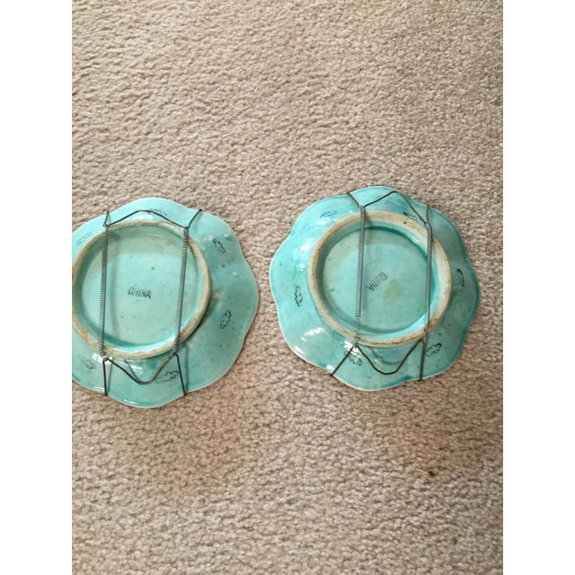 Turquoise 1930's Chinese Ceramic Painted Plates - a Pair For Sale - Image 8 of 9