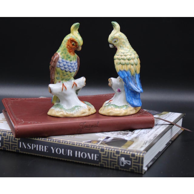 Mid-20th Century Chinese Export Ceramic Parrot Figurines - a Pair For Sale - Image 6 of 11