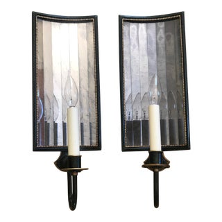 Custom Vaughan Tole and Mirror Sconces - a Pair For Sale