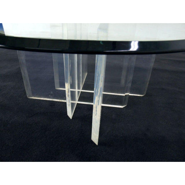 1980s Lucite Base Glass Top Round Mid Century Modern Coffee Table For Sale - Image 5 of 6