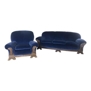 Mid Century Art Decco Chic Vintage Blue Velvet Sofa and Chair Set For Sale
