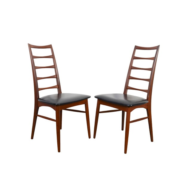 "Set of Ten Teak ""Lis"" Dining Armchairs by Niels Koefoed for Koefoed Hornslet Chairs with original faux black leather..."