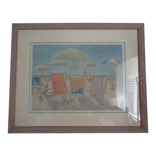 "1979 Beach Print Signed ""V. Tabor 1979"", Frame For Sale"