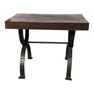 Rustic French Wood Plank Top and Iron Base Side Table For Sale