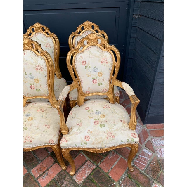 Antique Gold Leaf Painted Louis XIV Style Chairs - Set of 8 For Sale In Los Angeles - Image 6 of 12