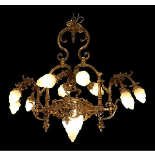 Solid Brass French Art Nouveau Chandelier With Torch Flame Shades Preview