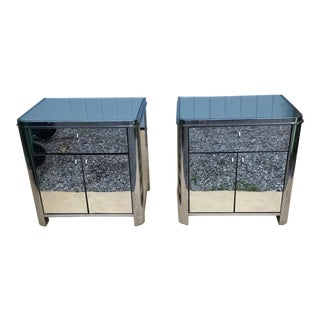 Chrome and Mirrored Side Tables by Design Institute of America For Sale