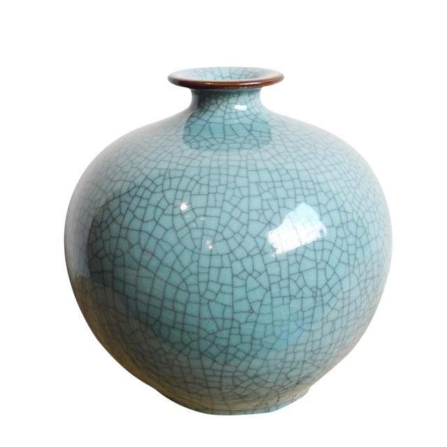 Turquoise Crackle Glazed Ceramic Vase - Image 1 of 2