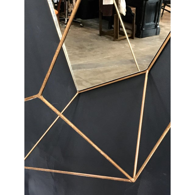 Italian Large Rhomboidal Sculptural Wall Mirror in Brass For Sale In Los Angeles - Image 6 of 10
